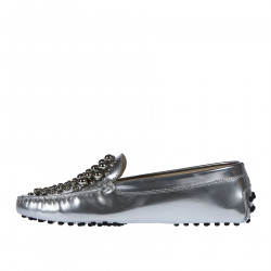 SILVER LEATHER MOCASSIN