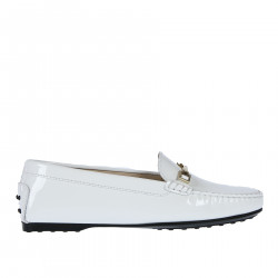 WHITE LEATHER MOCASSIN