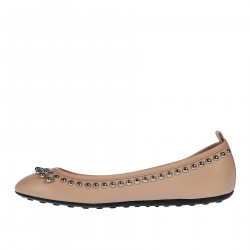 PINK LEATHER FLAT SHOES