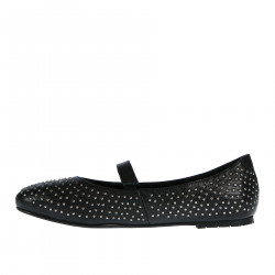BLACK LEATHER FLAT SHOE WITH STUDS