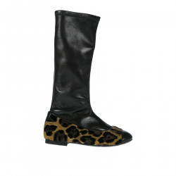 BLACK AND ANIMALIER LEATHER BOOT