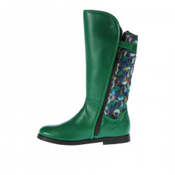 GREEN LEATHER BOOT WITH FABRIC DETAIL