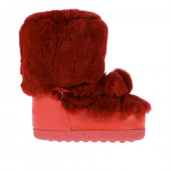 RED SYNTHETIC FUR MOON BOOT