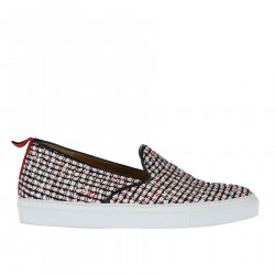 WHITE BLACK AND RED FABRIC SLIP ON