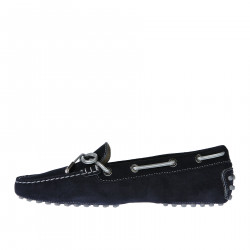 BLUE SUEDE LOAFERWITH SILVER RIBBON