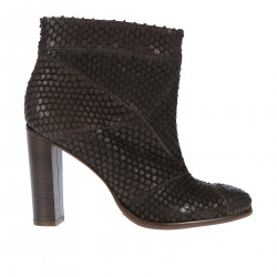 BROWN LEATHER ANIMALIER EFFECT LOW BOT