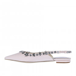 PINK FABRIC FLAT WITH STRASS