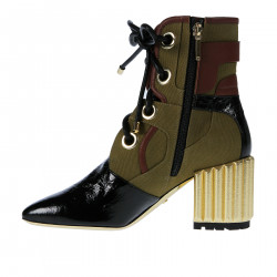 BLACK AND KAKI ANKLE BOOTS