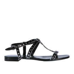 BLACK LEATHER SANDAL WITH SILVER HEARTS