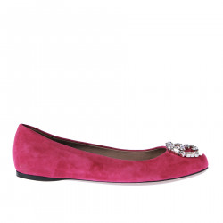 SUEDE FLAT SHOE WITH STONES