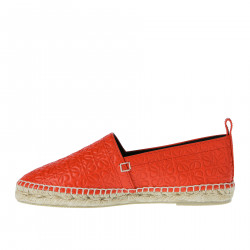 RED DECORATED LEATHER ESPADRILLAS