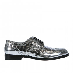 SILVER PERFORATED LEATHER LACES SHOE