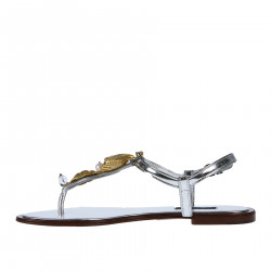 SILVER LEATHER FLAT SANDAL WITH APPLICATIONS