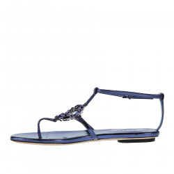 VIOLET LOW SANDAL WITH STONES