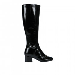 BLACK LEATHER TALL BOOT
