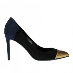 BLACK AND BLUE SUEDE DECOLLETE WITH GOLD POINT