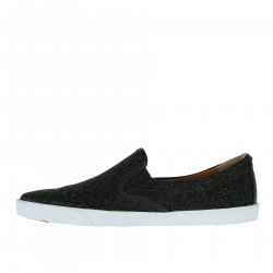 BLACK SLIP ON WITH GOLD GLITTERR AND CONTRASTING SOLE