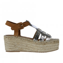 BROWN AND SILVER HONORIA WEDGE SHOE