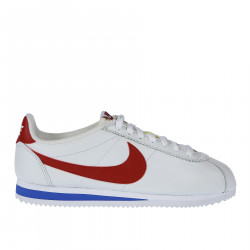 WHITE LEATHER SNEAKER WITH RED LOGO