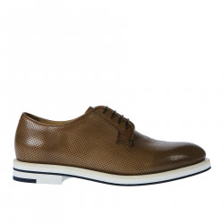 BROWN PERFORATED LACE UP SHOE