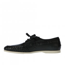 BLACK LEATHER BOAT SHOE