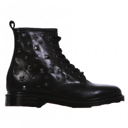 BLACK LEATHER ANKLE BOOT WITH STUDS