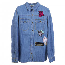 BLUE SHIRT WITH DECORATIVE PATCHES