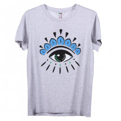 GREY T SHIRT WITH FRONTAL LOGO