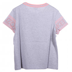 GREY T SHIRT WITH PINK DETAIL