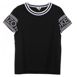 BLACK T SHIRT WITH WHITE DETAILS