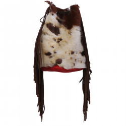 LEATHER BUCKET BAG WITH FRINGE