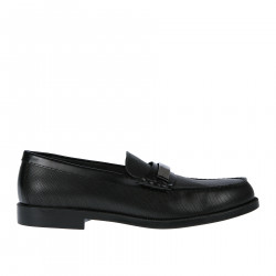 BLACK LOAFER WITH METAL BRAND LOGO