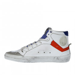 WHITE LEATHER SNEAKER WITH RED AND BLU DETAILS