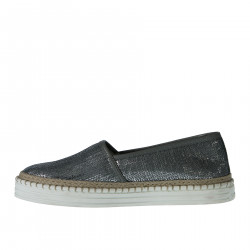 SILVER SEQUINS ESPADRILLAS WITH RAFFIA DETAIL
