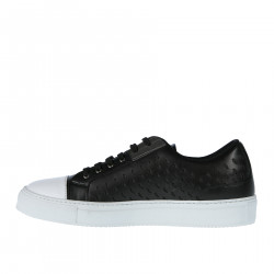 BLACK LEATHER SNEAKER WITH CONTRASTING SOLE