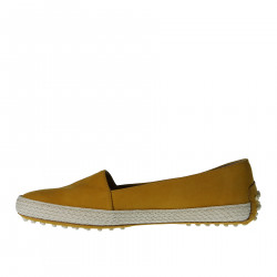 YELLOW SUEDE ESPADRILLAS WITH RAFFIA DETAIL