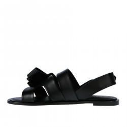 BLACK LEATHER FLAT SANDAL WITH BOW