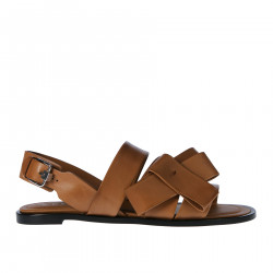 BROWN LEATHER FLAT SANDAL WITH BOW