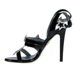BLACK AND WHITE SANDAL WITH STARS