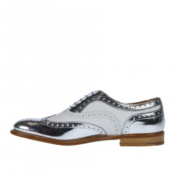 SILVER AND WHITE WINGTIPS LACE UP