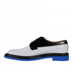 WHITE BLACK AND BLUE PERFORED LACE UP