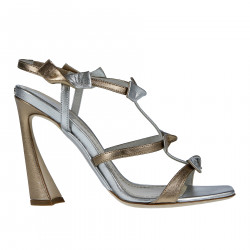 SILVER AND BRONZE LEATHER SANDAL
