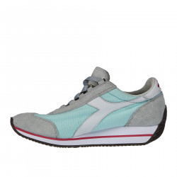 GREY AND LIGHT BLUE FABRIC AND SUEDE SNEAKER