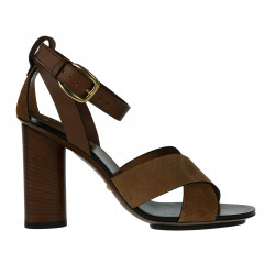BROWN LEATHER AND SUEDE SANDAL
