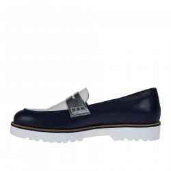 WHITE AND BLUE LEATHER LOAFER