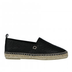 ESPADRILLAS NERA IN PELLE DECORATA