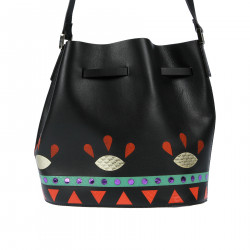 BLACK LEATHER SHOULDER BAG WITH FANTASY