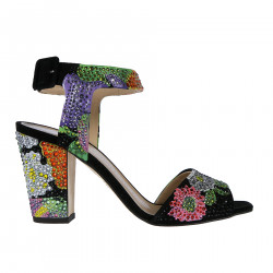 BLACK LEATHER FLAT SANDALWITH FLOWER AND BRIGHT FANTASY