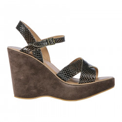 BROWN LEATHE AND SUEDE SANDAL WITH WEDGE
