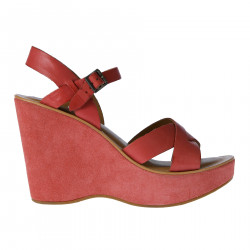 PINK LEATHER AND SUEDE SANDAL WITH WEDGE